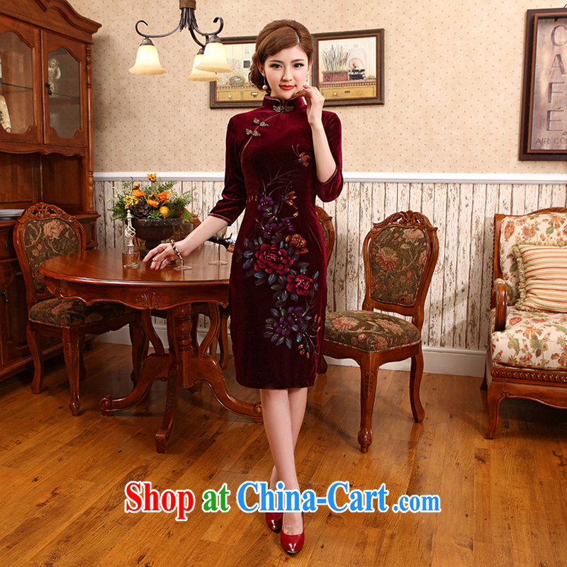 Spring 2014 new, long wool retro dresses marriage retro improved cheongsam dress wine red 2 XL