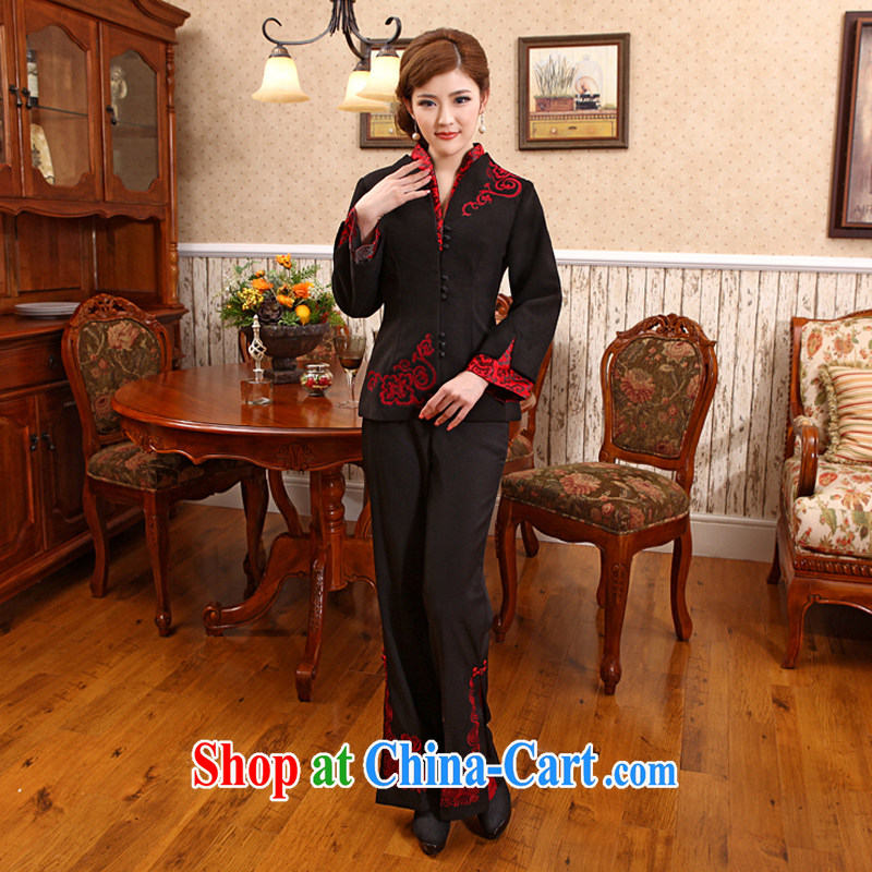 Spring 2014 New Tang fitted T-shirt style improved jacket cheongsam Chinese X 616 black 2 XL