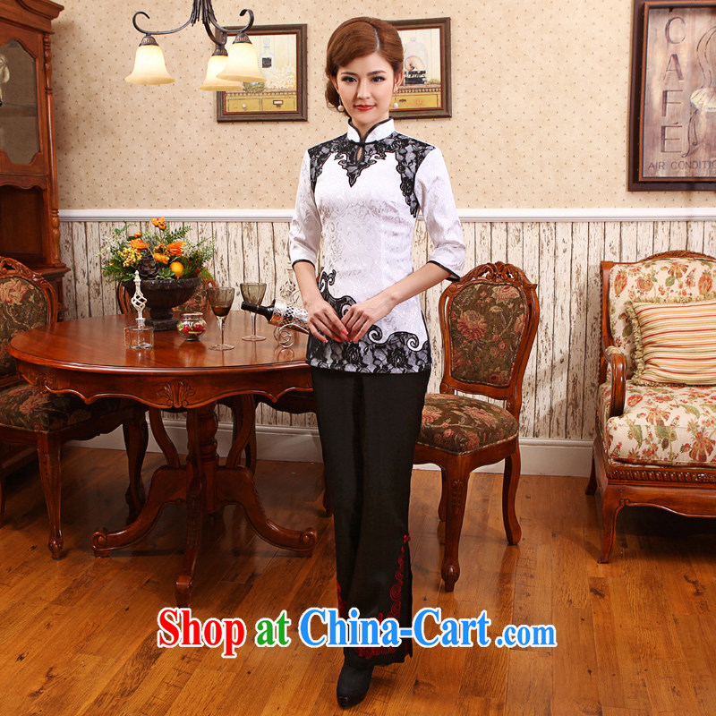 Spring and Summer clothes new, Han-T-shirt beauty retro China wind improved lace Tang in flag cuff white 2XL