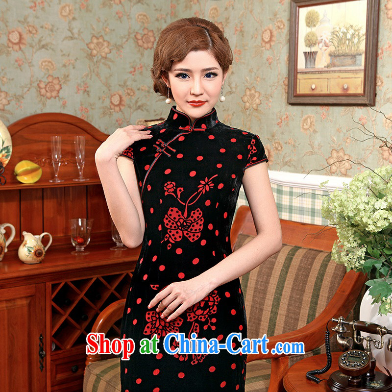 2014 high quality Stylish retro Ethnic Wind load fall dresses skirts your air lint-free cloth dress, plush robes black 2 XL