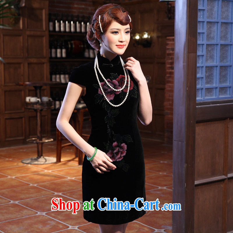 2014 spring new short in high cuff Silk Velvet cheongsam improved retro dresses black XXL