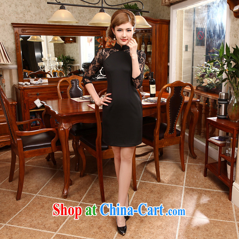 2014 National wind spring and summer cuff in cheongsam dress sexy lace winter clothes cheongsam dress X 618 black M