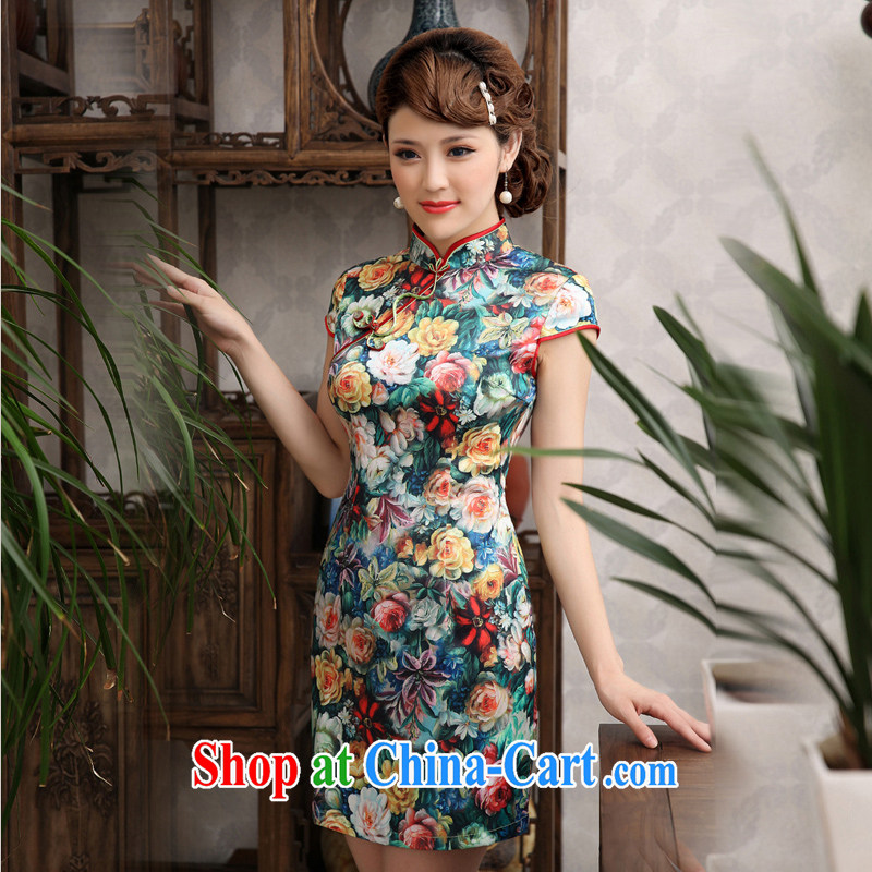 Summer 2014 new, improved stylish stamp duty Chinese graphics thin short cheongsam dress daily female cheongsam dress suit XXL