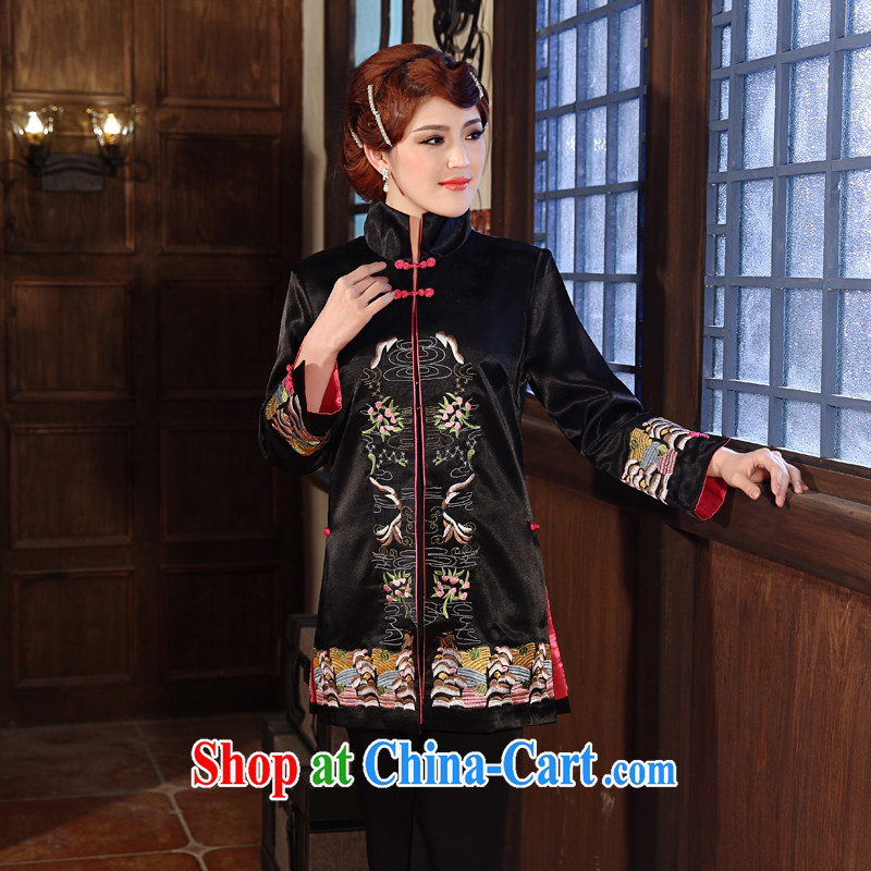 2014 spring new outfit suit trend improved cheongsam Chinese qipao day female black 3 XL