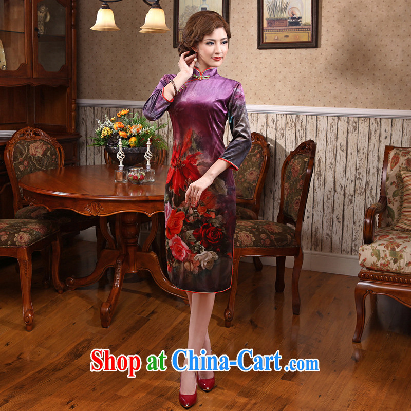 2014 antique dresses improved winter clothes, short daily sexy new cheongsam dress elegant robes of red 3 XL