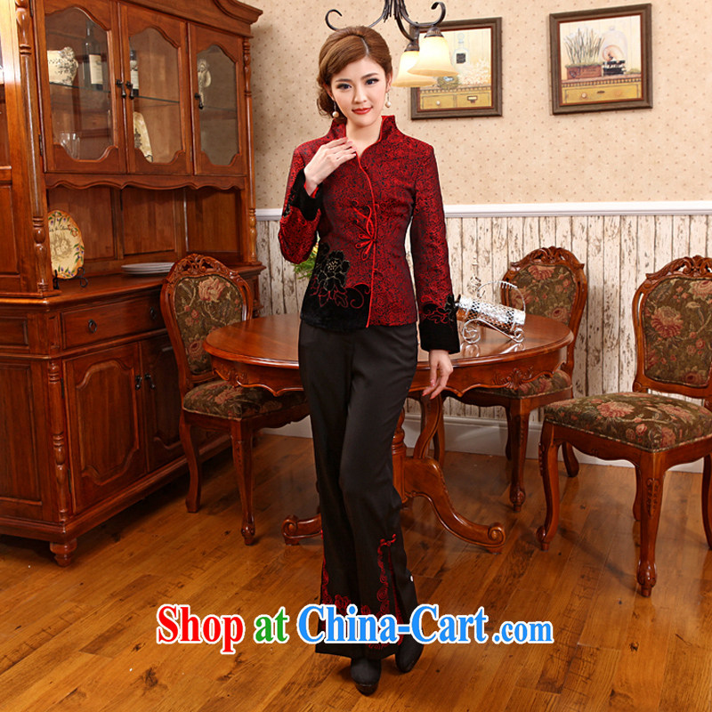 Her long-sleeved style improved Chinese mother with embroidery peony flowers festive jacket X 619 red 2 XL