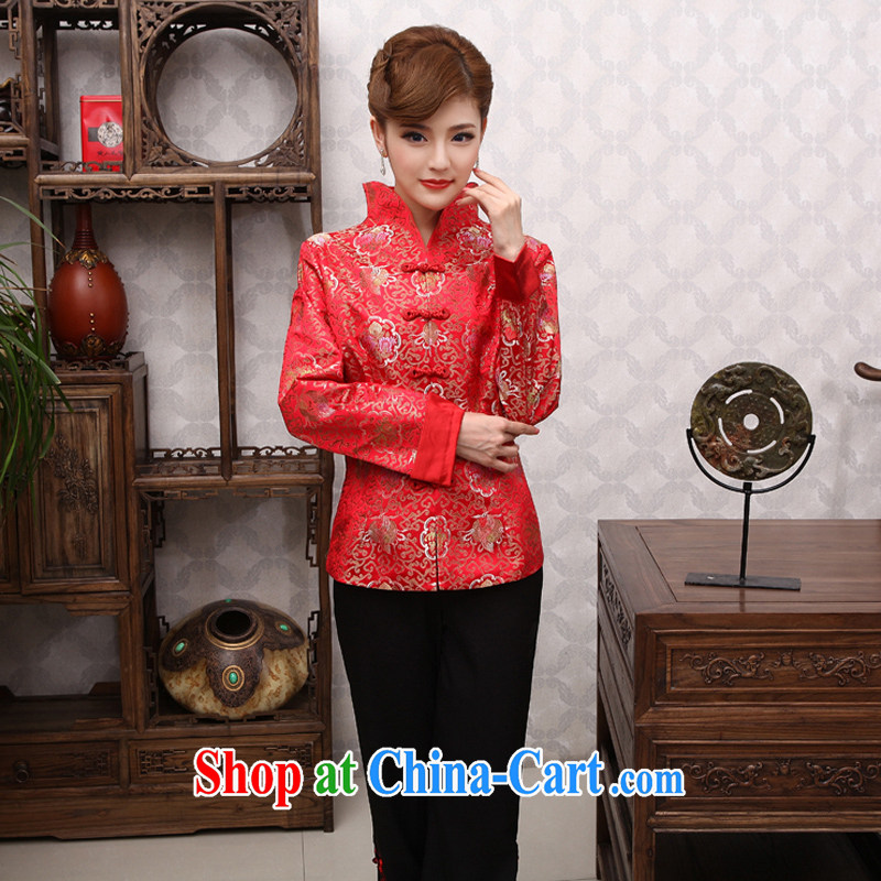 2014 spring new Chinese, long-sleeved T-shirt jacket fashion cheongsam Chinese X 430 big red 2 XL