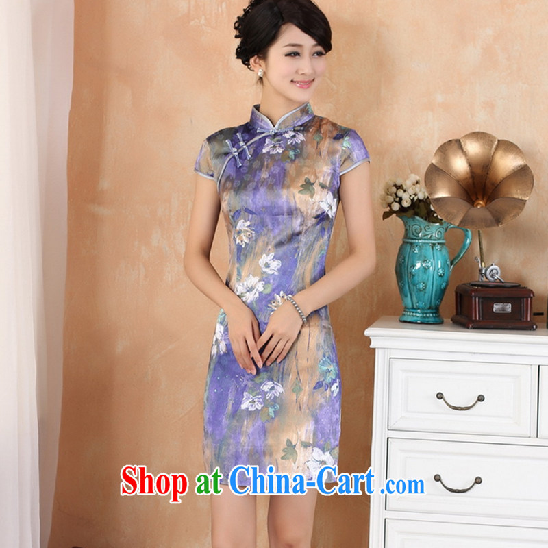 Take the new summer clothes, for Chinese China wind improved version hand-painted short-sleeved short cheongsam Tang - 3 purple L
