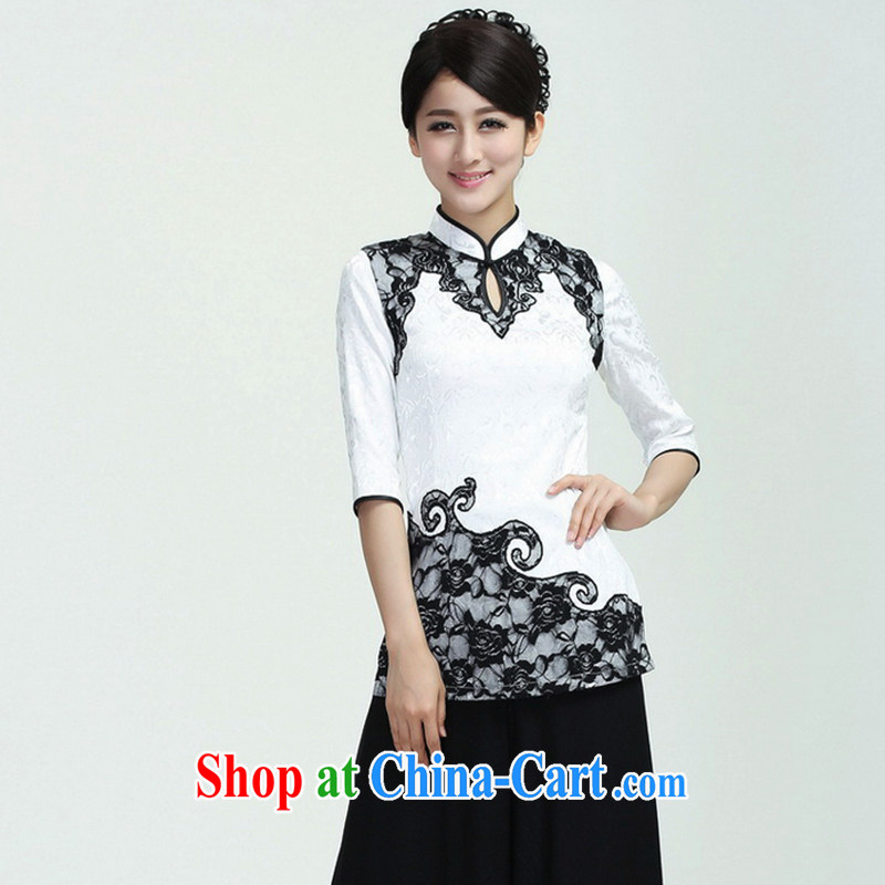 Take the new summer Women's clothes Chinese Chinese improved elegance and elegant collar, lace embroidery, qipao cuff T-shirt white 3XL