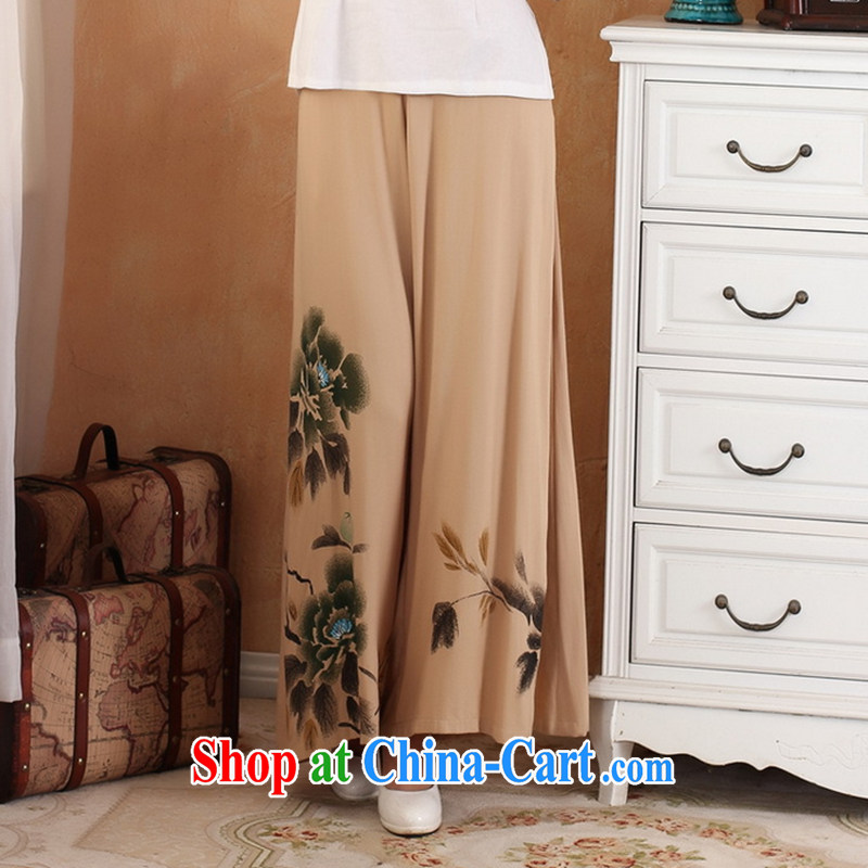 Take the new women short pants pants hand-painted trousers show clothing work clothing horn pants Wide Leg Trouser press - 2 card the color 2 XL, figure, and shopping on the Internet