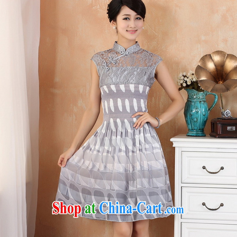 spend the summer Women's clothes and stylish Chinese lace pullover features pipa tie lace stitching silk, with improved cheongsam dress - 4 gray L