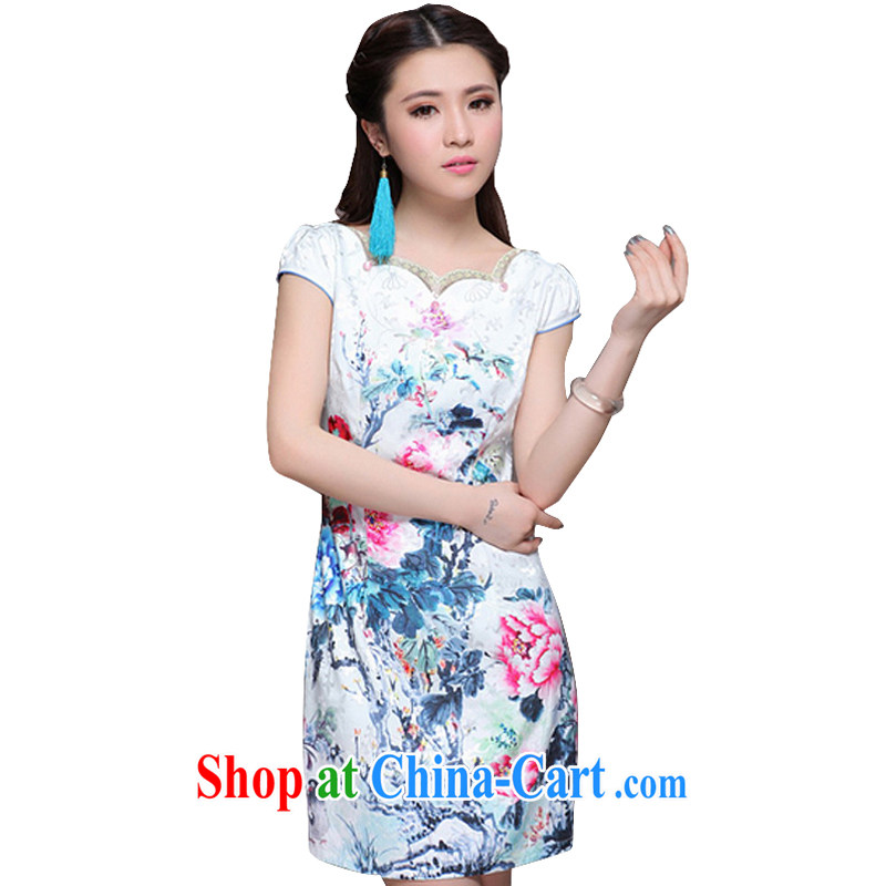 At stake line cloud 2014 New China wind National wind girls with improved stylish commuter cultivating graphics thin cheongsam ZM 9904 Map Color XXL