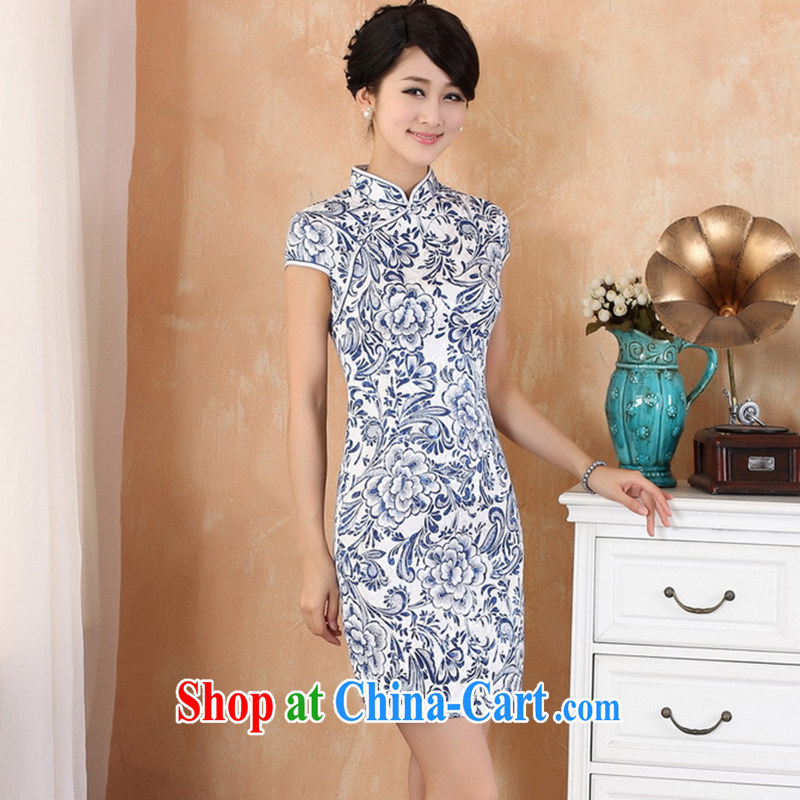 Take the new summer girls and stylish Chinese improved female outfit is tight, for hand-painted blue and white porcelain cotton robes white 2XL