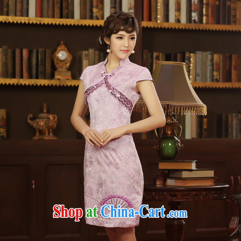 2014 qipao qipao, cheongsam dress improved stylish embroidery new short-sleeved dresses purple XXL