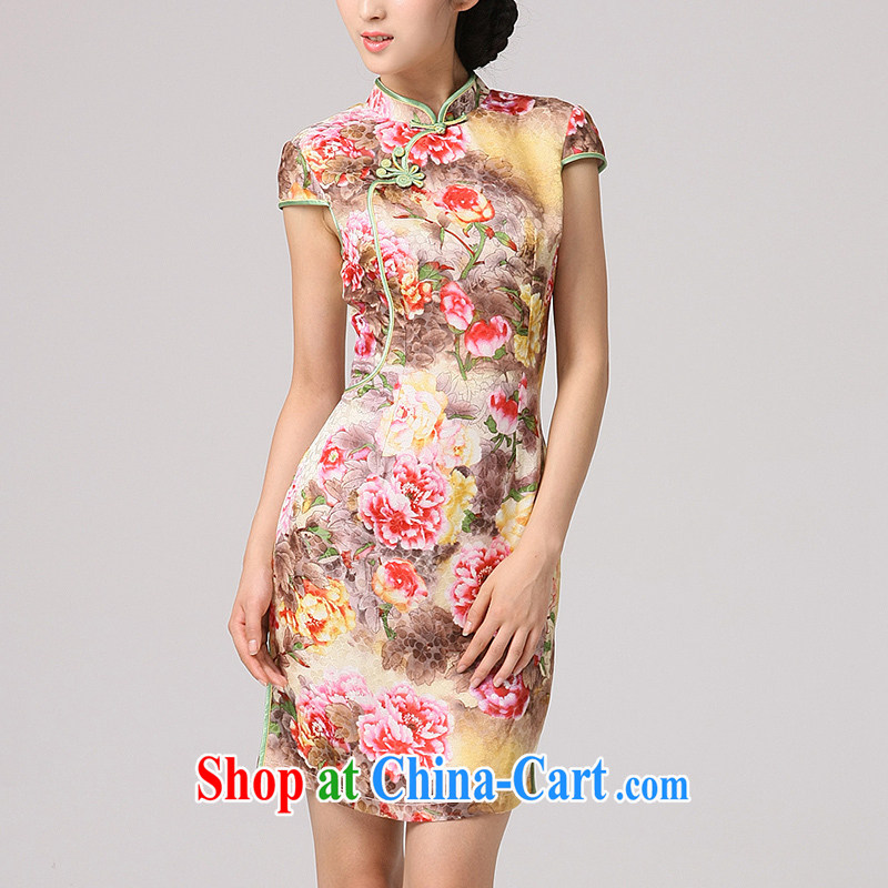 2014 qipao qipao cheongsam beauty skirt daily improved Stylish retro ceremonial cheongsam peony flower essence of saffron XXL