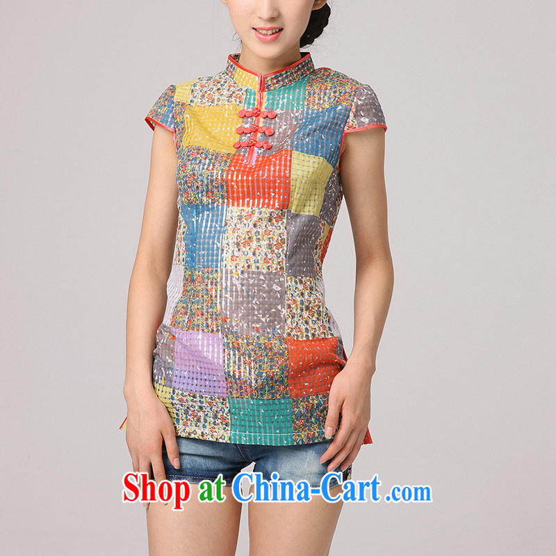 2014 qipao cheongsam dress new improved cheongsam shirt retro arts Chinese national stamp tray snap collar red and yellow grid S