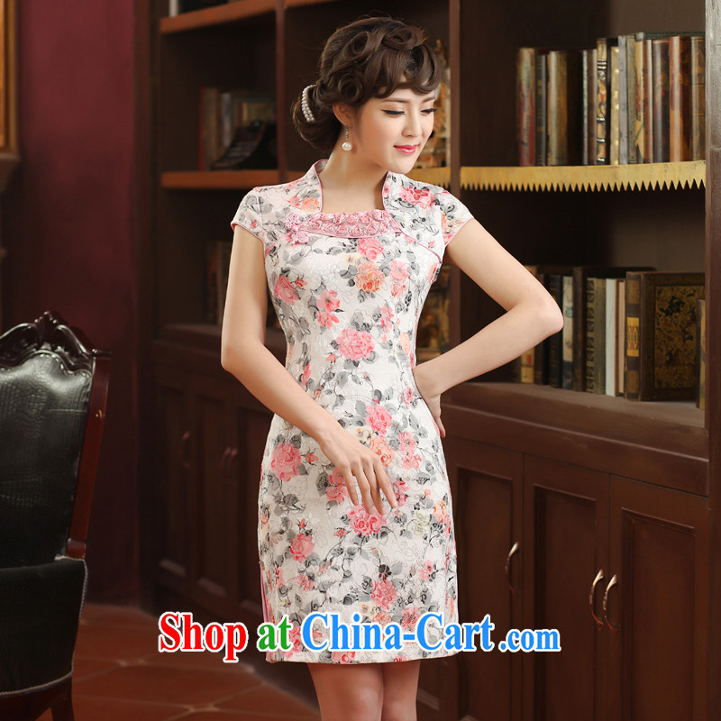 2014 cheongsam dress, stylish beauty women wedding dresses banquet with elegant short dresses of red XXL