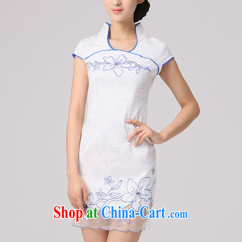 Dresses summer 2014 new retro ethnic wind elegant stylish embroidered cheongsam dress short-sleeve embroidery cheongsam white white XXL