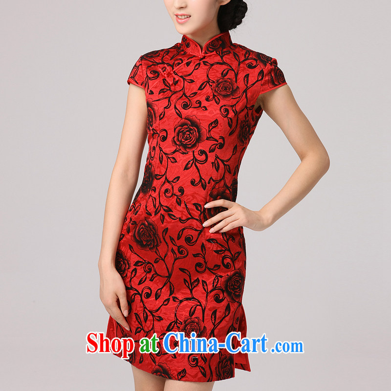 Dresses 2014 hi edge autumn marriage with new red floral cheongsam improved retro elegant autumn dresses skirt red XXL