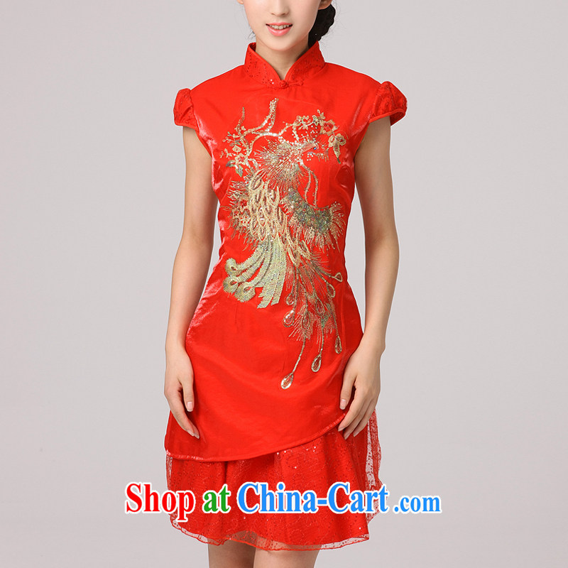 2014 qipao Fung for his new short lace cheongsam improved stylish bridal show serving the service flag red XXL