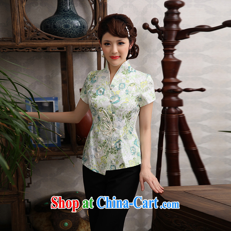 Dresses 2014 original Chinese Ethnic Wind improved the service-charge-back the code units the female Chinese qipao Ms. Green XXXL