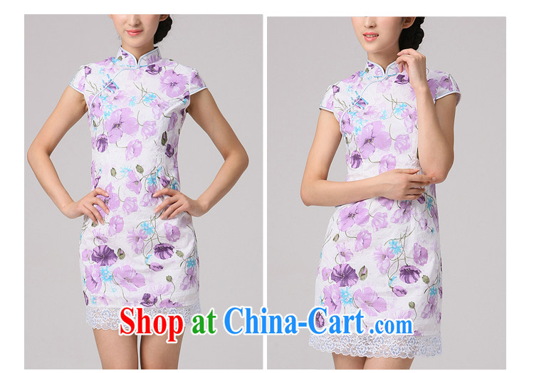 2014 qipao qipao cheongsam beauty dress daily improved stylish new dress Chinese short dresses purple XXL pictures, price, brand platters! Elections are good character, the national distribution, so why buy now enjoy more preferential! Health