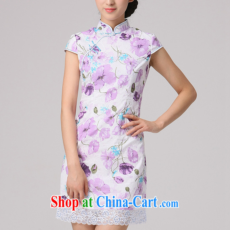 2014 qipao qipao cheongsam beauty dress daily improved stylish new dress Chinese short dresses purple XXL