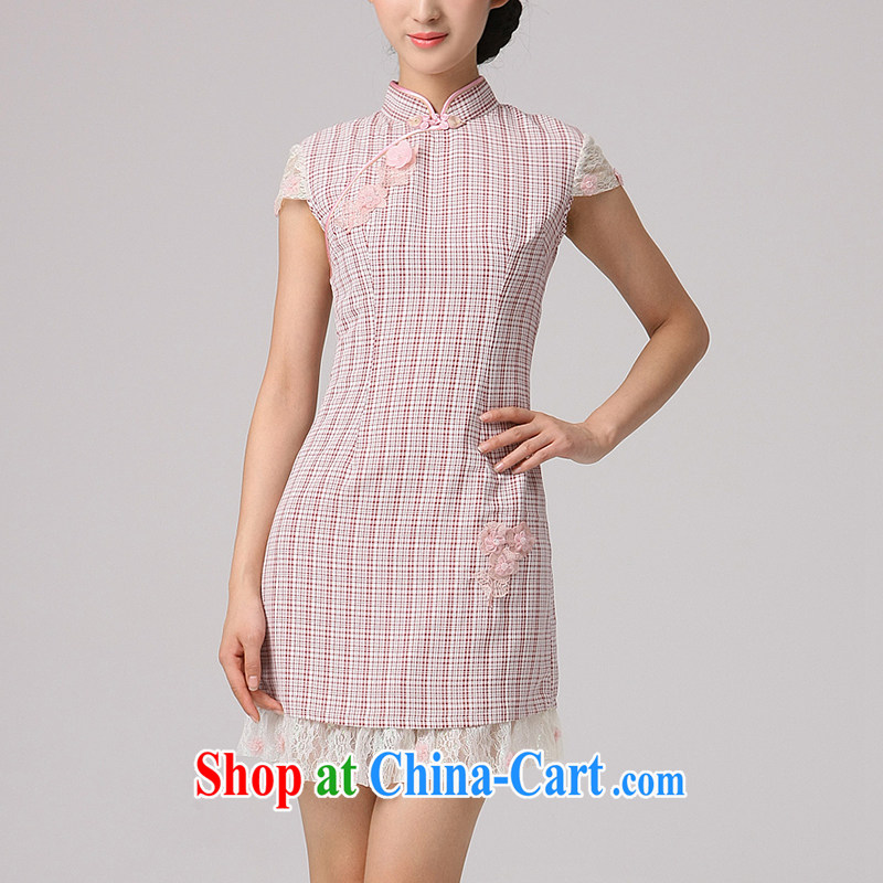 2014 cheongsam Chinese classical classical style 100 Ground improvement grid korea outfit linen dresses lace shoulder tartan XXL