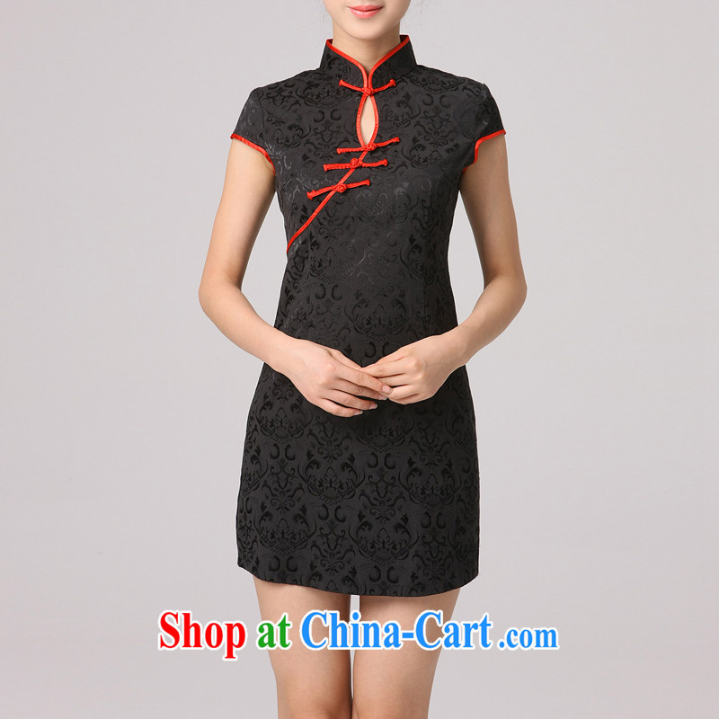 Dresses summer 2014 new short-sleeve beauty embroidered black sexy retro improved Tang mounted mini cheongsam black XXXL
