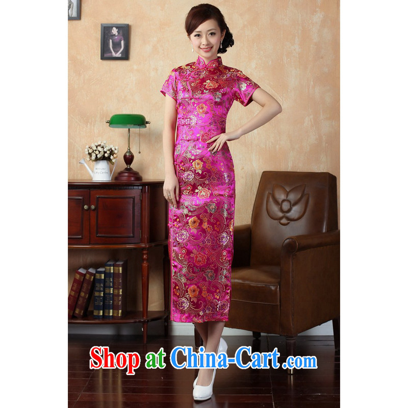 spend the summer new female cheongsam Chinese improved, for a tight silk painted Chinese Antique 10 tablets for long cheongsam J of 0025 red M