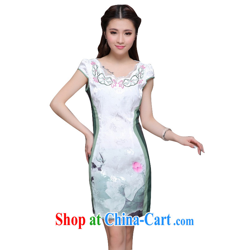 Stakeholders line cloud high-end ethnic wind women stylish Chinese qipao dress retro beauty graphics thin cheongsam dress ZM 9910 green XXL