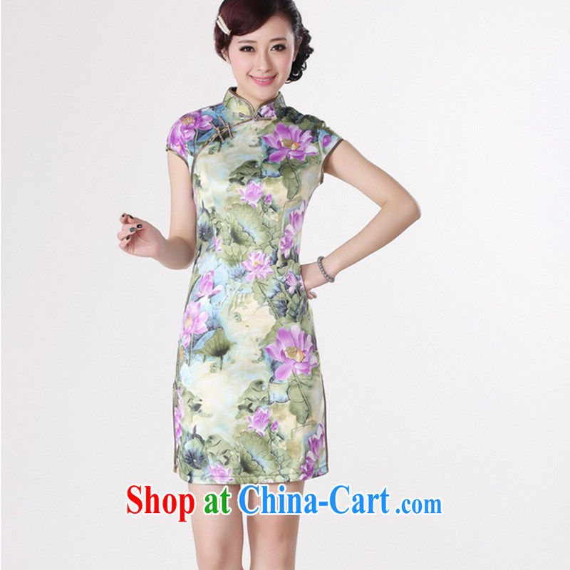 Take the 2014 new stylish and improved Chinese qipao Chinese lotus, for a tight damask short-sleeved qipao D 0200 - B D 0200 - A 2 XL