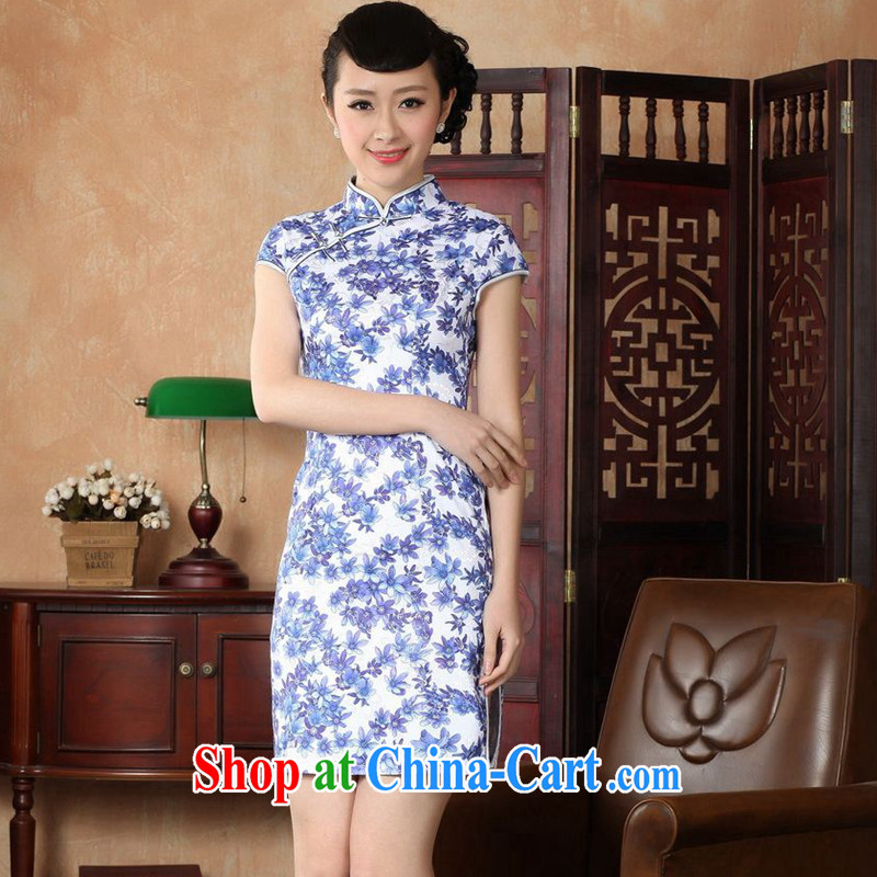 Take the 2014 new summer improved Chinese qipao, for a tight cotton hand painted Orchid short-sleeved Chinese antique dresses Blue on white 2 XL