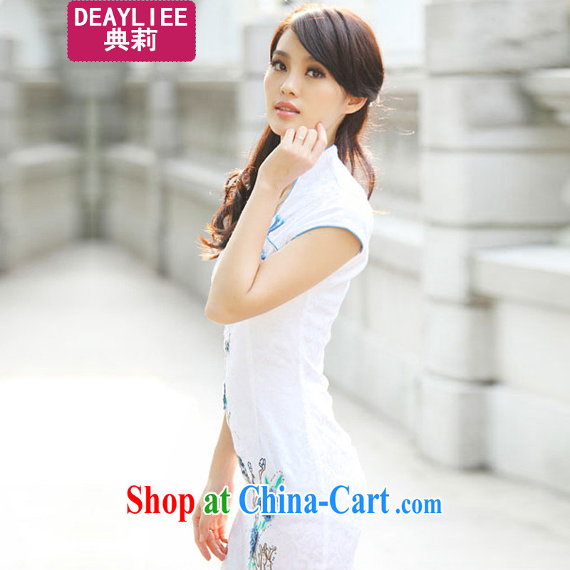 Julie code 2014 summer new cheongsam Chinese elegant and modern cheongsam dress blue XL
