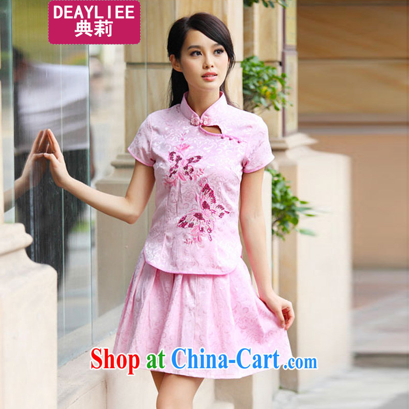 Julie code 2014 summer new genuine elegant retro fresh Chinese to Butterfly cheongsam dress set pink XL