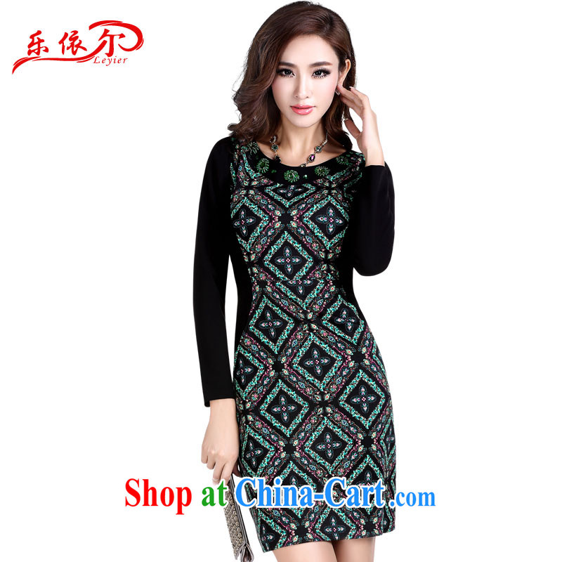 Music in Spring and Autumn and retro dresses beauty and elegant embroidered long-sleeved dresses and stylish Ethnic Wind cheongsam dress suit XL