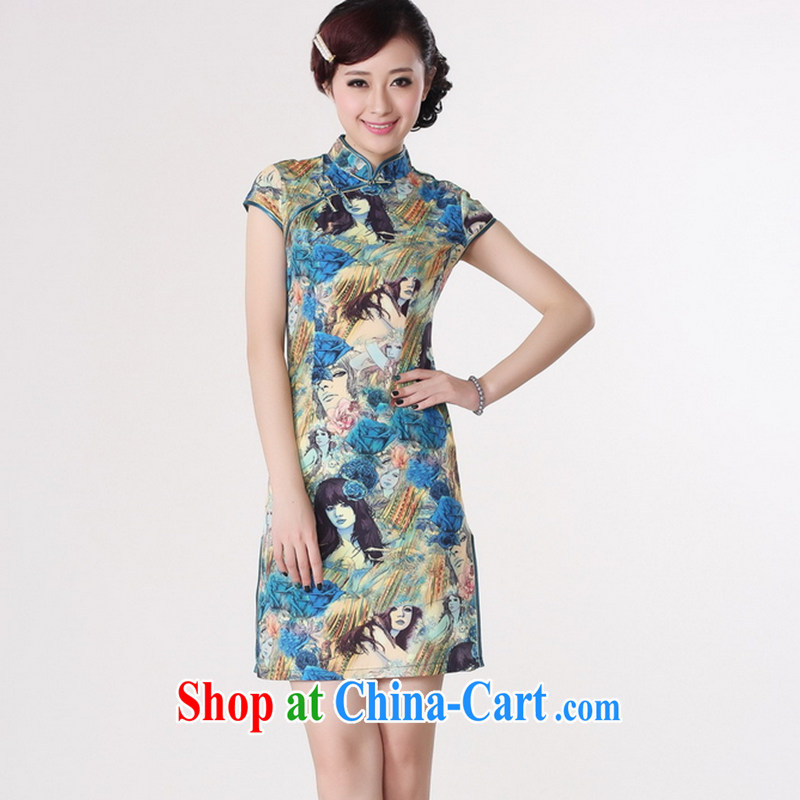 Take the 2014 summer new female Chinese qipao Chinese improved, for the hard-pressed damask hand-painted figures short cheongsam blue 2 XL