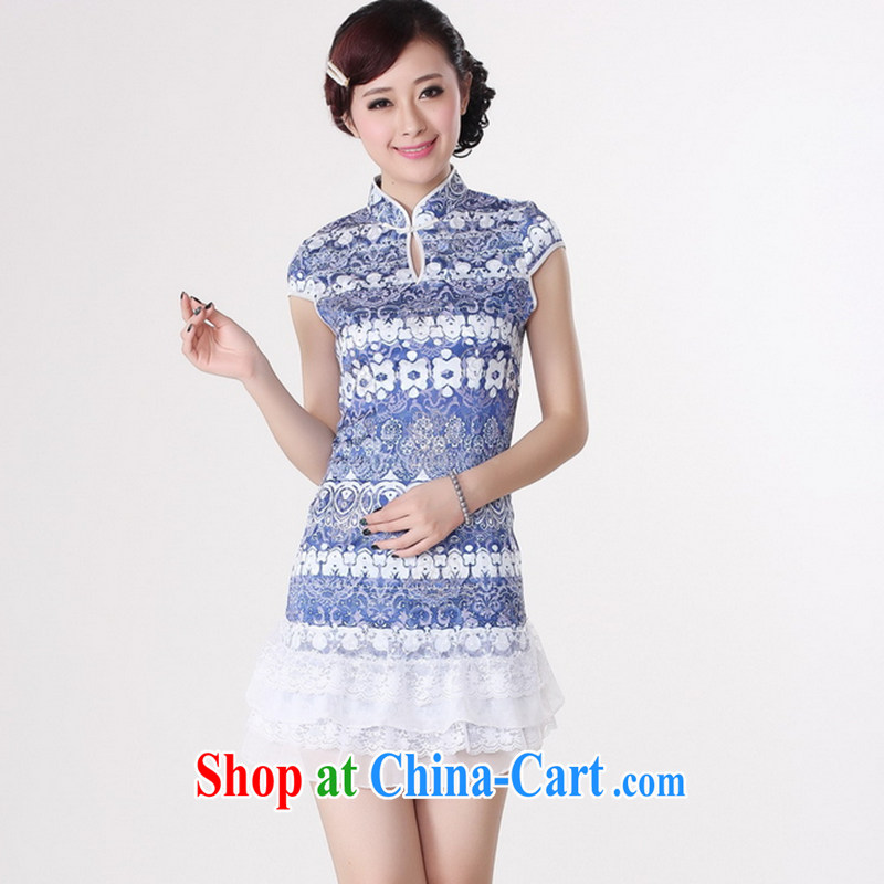 Take the 2014 summer new female Chinese qipao Chinese improved, for pure cotton hand-painted elegant short cheongsam blue S