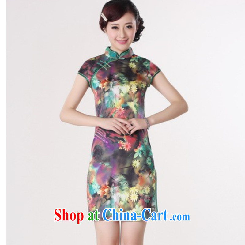 Take the 2014 summer new female Chinese qipao wind Ya Chinese improved, for the hard-pressed damask hand-painted short cheongsam - A green 2 XL