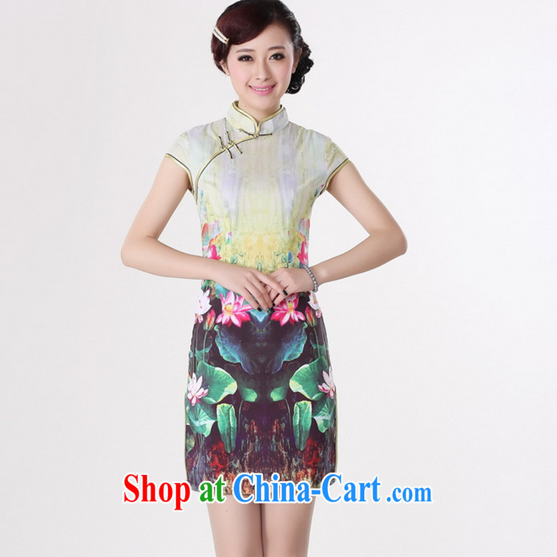 Take the 2014 new summer Women's clothes and stylish Chinese improved antique cheongsam Chinese, for a tight Silk Cheongsam Lotus green 2XL