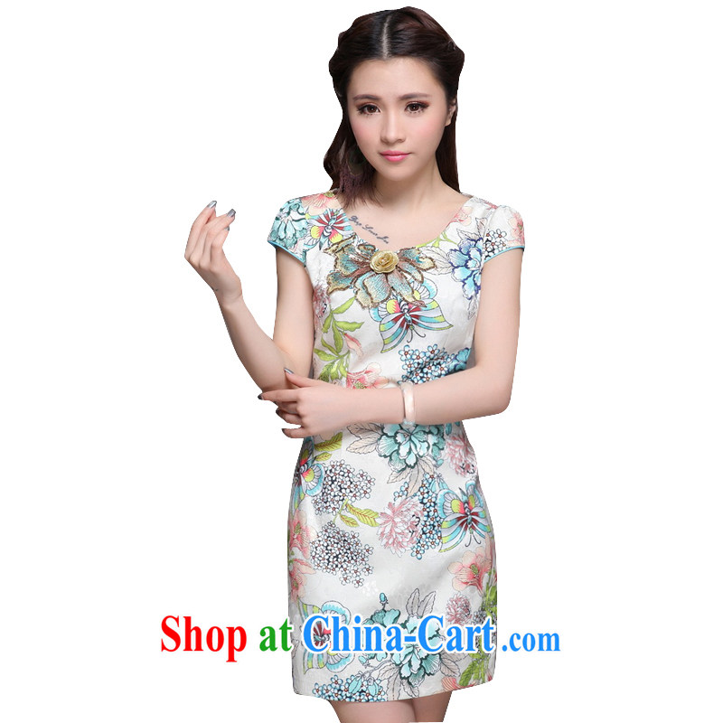 At stake line cloud high-end ethnic wind female Chinese qipao dress retro embroidered cheongsam dress female ZM 9907 apricot XXL