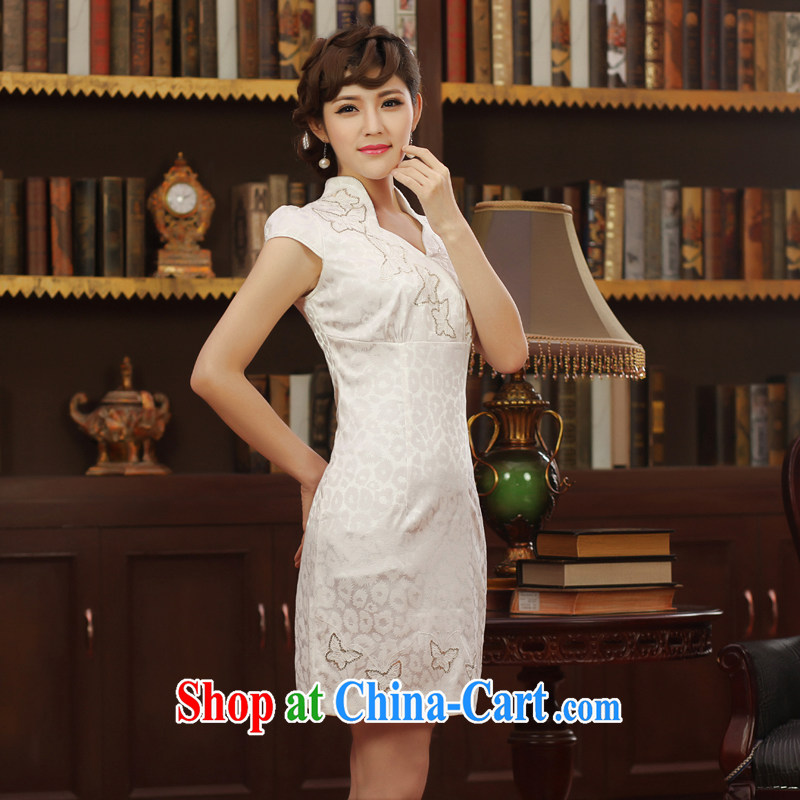 robes women 2014 Summer Fall dresses, daily embroidery improved dresses short stylish retro dresses white XXL