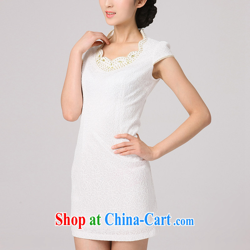 2014 summer dresses girls dresses improved stylish short-sleeve dresses autumn wind modern day retro cheongsam dress white XXL