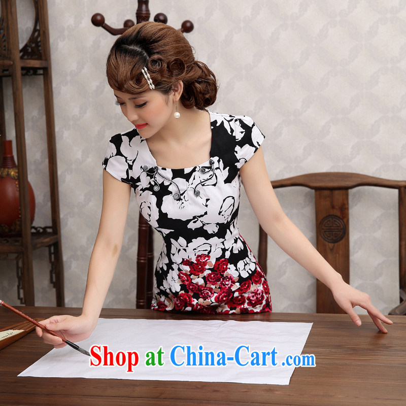 2014 summer dresses female retro Ethnic Wind hand-painted water the Phillips cheongsam dress short-sleeved improved cheongsam black XXL
