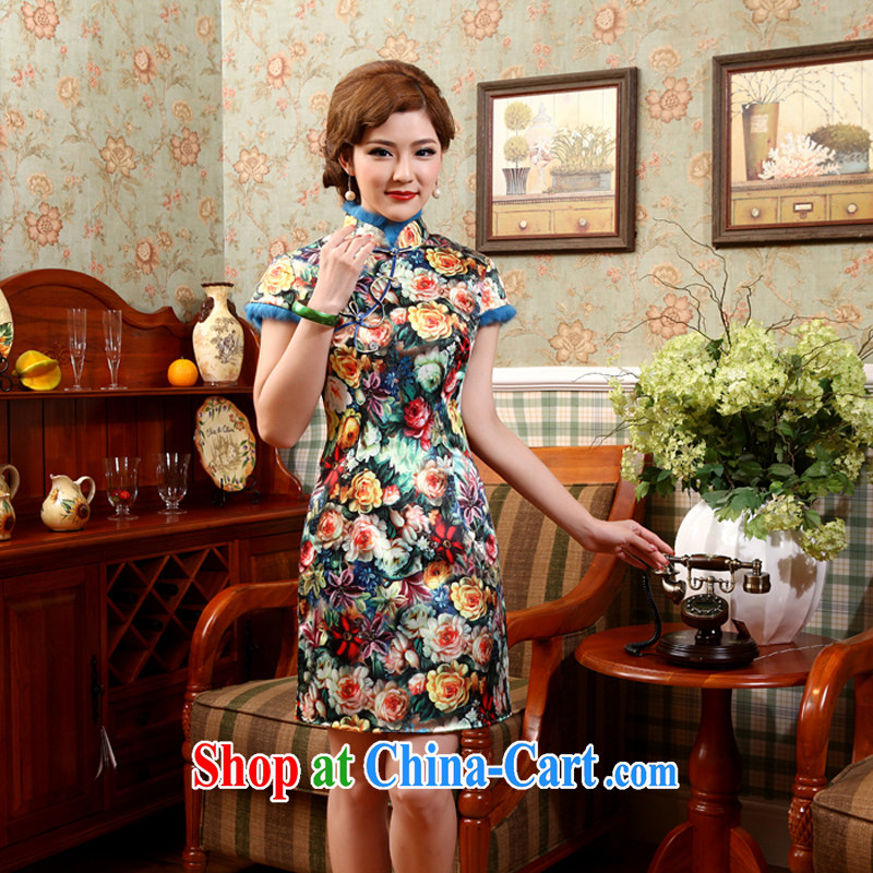 Dresses women dresses 2014 Girls fall and winter cheongsam cheongsam dress improved winter clothes and stylish quilted floral cheongsam 2 XL