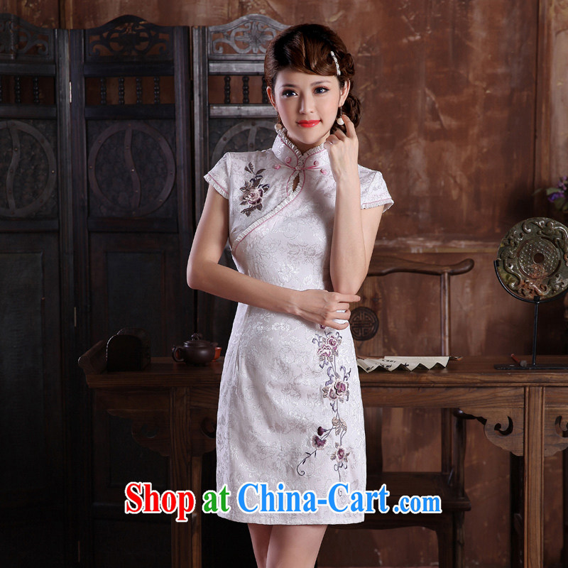 robes women 2014 summer dresses female cheongsam dress stylish three-dimensional embroidery cotton daily improved cheongsam dress white XXL