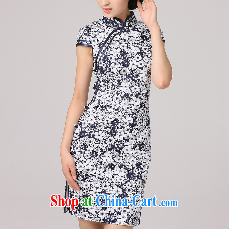 2014 summer dresses girls dresses neckline and improved classic and elegant short sleeve cheongsam dress floral floral Tibetan youth XXL