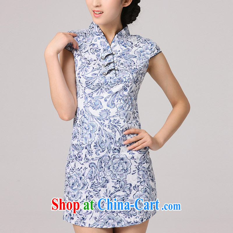 2014 summer dresses girls dresses blue and white porcelain pattern hand-tie improved refreshing stylish short-sleeve dresses cyan XXXL