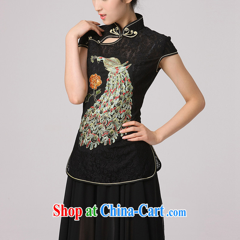 Dresses 2014 improved retro hand-tie Phoenix embroidery elegant short-sleeved T-shirt outfit black Peacock XXL
