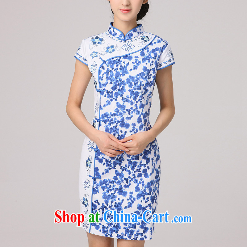 2014 summer dresses female fashion improved retro short cheongsam dress Chinese daily blue and white porcelain blue floral XXL